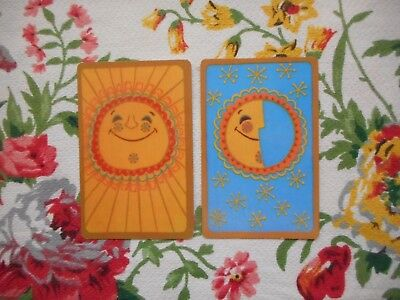 Two/pair of vintage kitsch retro 70's game/playing cards - sun, moon and stars