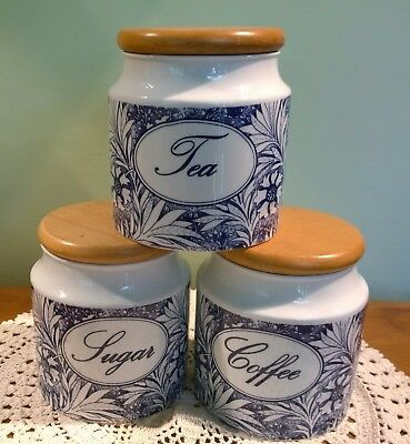 Dunoon 'Bloomsbury' tea, coffee & sugar jars William Morris blue white