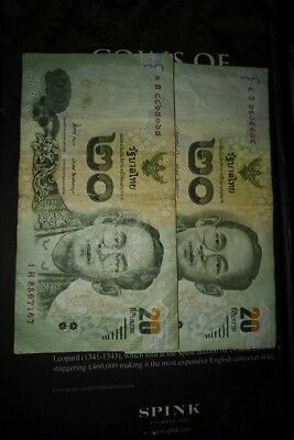 Thailand 20 bhat banknotes holiday money