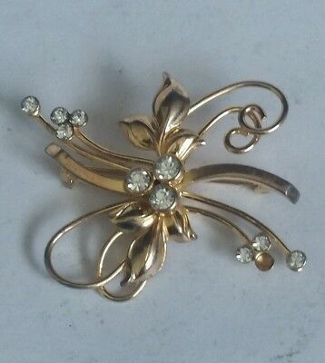 Vintage Bond Boyd Sterling Brooch - 925 Silver- Gold colour with White Stones