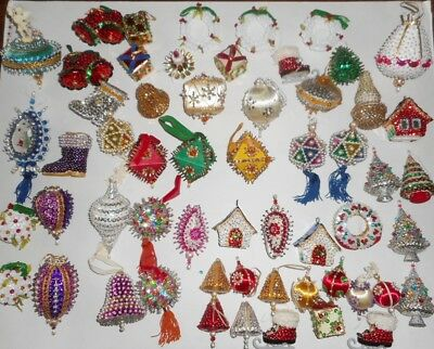 Huge Vintage Lot 57 Handmade Beaded Sequin Christmas Ornaments Mix shapes- sizes