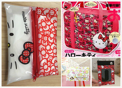 Set of 5-Hello Kitty Reusable Bag & Mirror/Makeup Pouch/Passport & Cardholder