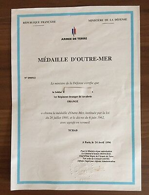 French Foreign Legion Overseas Medal Award Document, Original, Named