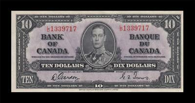 1937 BANK OF CANADA KGVI $10 **Gordon & Towers** (( GEM UNC ))