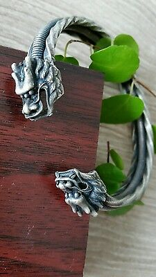 Collectible Unique Ethnic Miao Silver Carved Big Dragon Head Bracelet