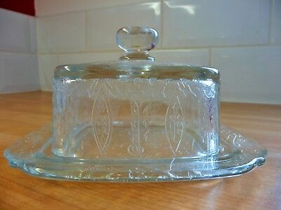 Vintage Pressed Glass Butter Cheese Dish Flower Leaf Clear Kitsch Plate Cover