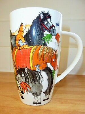 Very Large Dunoon Pottery Porcelain Mug Cherry Denman Hoofers Horse Donkey Pony