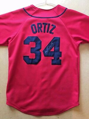David Ortiz Autographed Boston Red Sox Jersey Red Majestic Size Small Big Papi