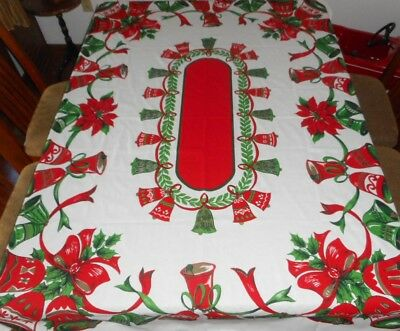 Vintage Christmas print tablecloth Holly Bows & Bells 69x52