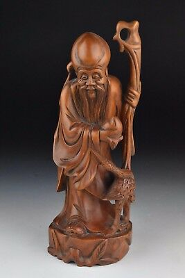 Chinese Republic Period Wooden Statue of Shou Lao / God of Longevity