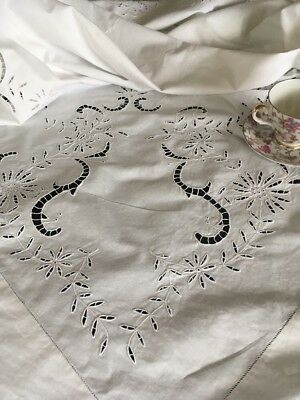 Vintage White Embroidered & Cutwork Cotton Tablecloth