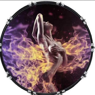 """Custom 22"""" Kick Bass Drum Head Graphical Image Front Skin Lady in Flame"""