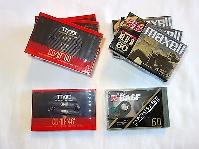 8 New/sealed High Quality Cassette Tapes - That's, Maxell, Basf.