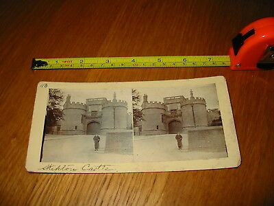 Old Vintage Antique Stereoview Photo Card Boy outside Skipton Castle Yorkshire
