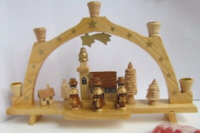 Erzgebirge Arch Carollers, Trees, Gold-painted stars + 5 original candles German