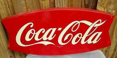 1960s Vintage Original 26-inch COCA COLA Soda FISHTAIL Tin SIGN
