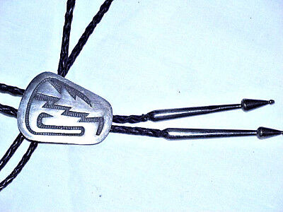 Great Old Hopi Indian Sterling Silver Bolo Tie