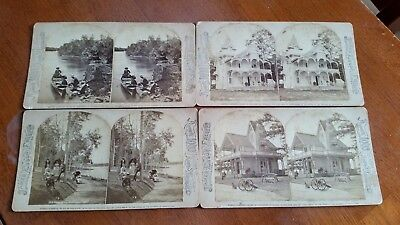 Awesome STEREOSCOPE VIEWS. Set of 4 Cards.1000 Islands. OLD! A Must See!