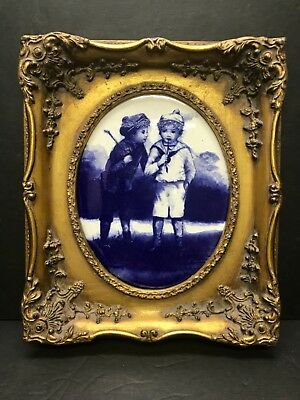 Antique Style Gilded Wood Frame W/Blue and White Trasferware Plaque Reproduction