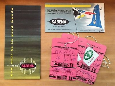 Sabena airline ticket 1959 plus ticket holder and bagagge-tags DUS-AMS-MEX
