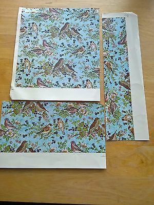 Ceramic Waterslide Transfer Small Sheet Birds on Blue Background
