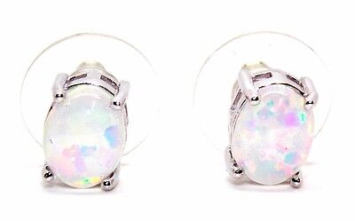 Sterling Silver Fire Opal 3.45ct Stud Earrings (925)