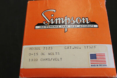 Simpson 2123 panel meter 0-15 volts dc
