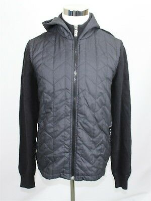 NWT Calvin Klein Premium Men's Sweater Jacket L Black Combo Quilted Knit $168