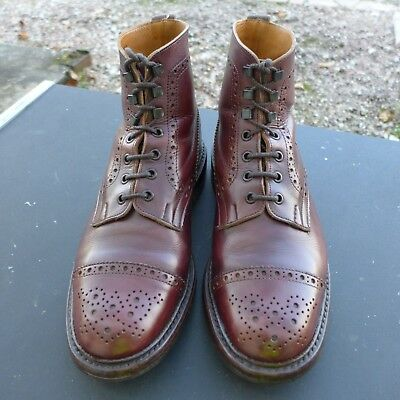 Mens Trickers Eaton Brogue Toe Cap Boot, Ox Blood, Rare Style, Size Uk 8 1/2