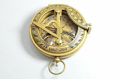 Brass Compass Military or Ships Nautical Pocket Watch Style Sundial Compass N