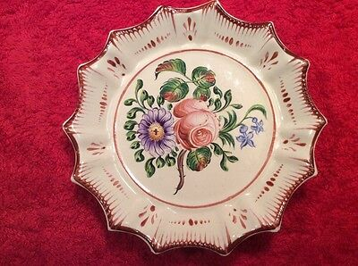 Antique French Faience Flower Bouquet Butter Pat late 1700's early 1800's, ff363