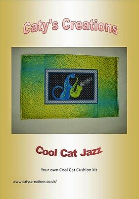 sewing kit cushion 30x50cm quilting 100% cotton material cool cat jazz motive