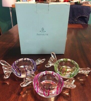 Partylite Candle Holders Jollyville Tea Light Trio Candy Pieces Glass NIB P8994