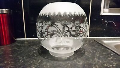 "Vintage Antique Frosty&clear Patterd Oil Lamp Shade 4""fitting"