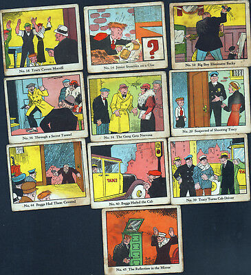 10 DICK TRACY 1930's CARAMEL CANDY CARDS