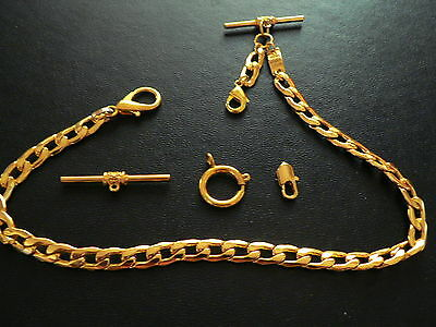 Fine Vest/pants Pocket Watch Chain 18K Gf- Strong Links+ Extra Parts