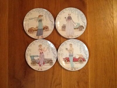 Poole Pottery Art Deco Style *Ladies With Classic Cars * Four 6 Inch Plates