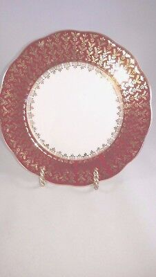 """Queen Anne Bread Plate 6 1/2"""", Red and Gold on White, Bone China"""