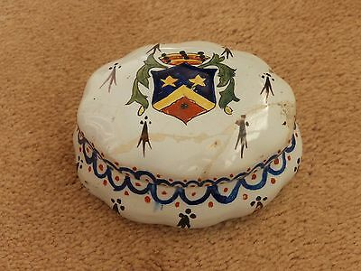 Super Rare Antique Armorial Faience Hand Painted Trinket Box With Lid