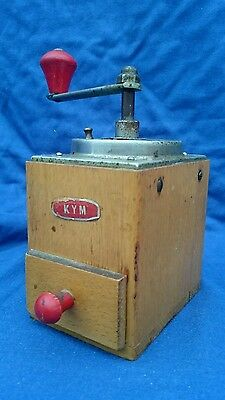 Vintage Kym Wooden Coffee Grinder ~ Use Or Display ~ Shabby Chic Rustic Kitchen