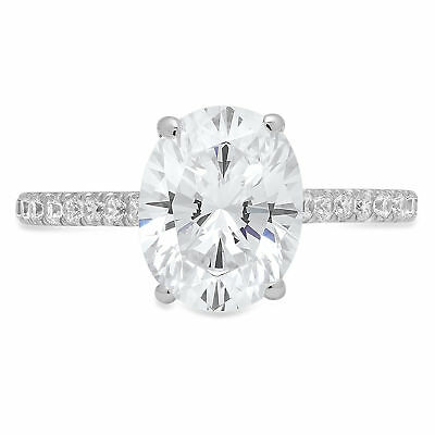 1.69ct Oval Cut  Engagement Wedding Promise Accent Solitaire Ring 14k White Gold