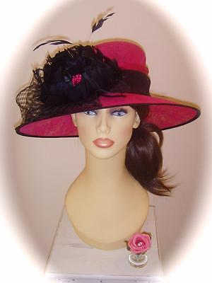 Mother of Bride Ascot Occasion Wedding Condici Hat, Pink & Black