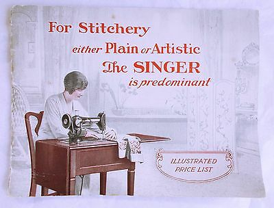 Original Singer sewing machine illustrated  price list Booklet  1930