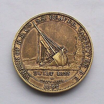 Wreck of H.B. Co.'s S.S. Beaver Vancouver BC 1892 vtg Medal / Steamship / Canada