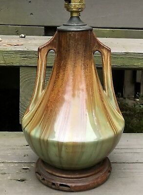 """Early Fulper Arts & Craft Green Flambe 13 1/2"""" Vase 2 Lamp Form 572A Excellent!!"""