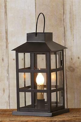 New Primitive Antique Style Black Metal Electric Candle Lantern Lamp Light