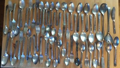 Lot 57 Pcs Silver Plate Flatware Forks Spoons Crafts Resale Upcycle Rodgers 1867