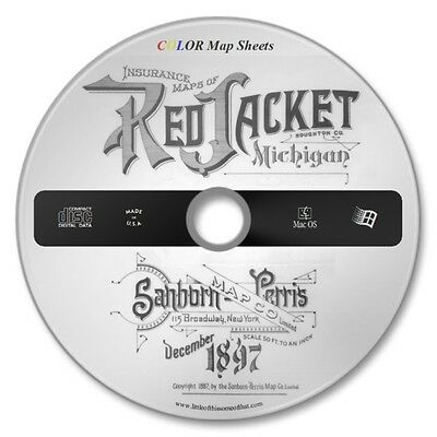 Red Jacket, Michigan 21 Color Sanborn Map Sheets on New CD Year 1897