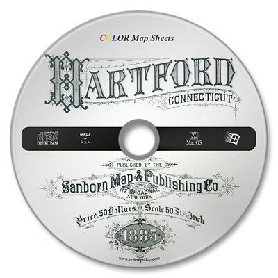 Hartford, Connecticut 22 Color Sanborn Maps Sheets on New CD Year 1885