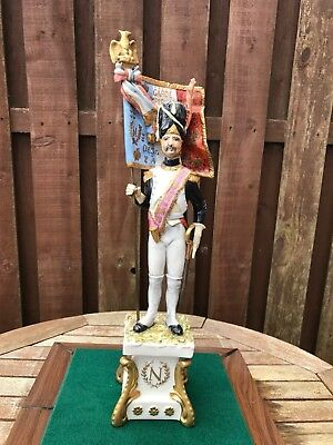 Large Fine Capodimonte Figure Of Napoleonic Imperial Guard Flag Bearer Soldier